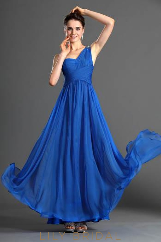 A-Line One-Shoulder Floor-Length Pleated Chiffon Formal Evening Dress With Beads
