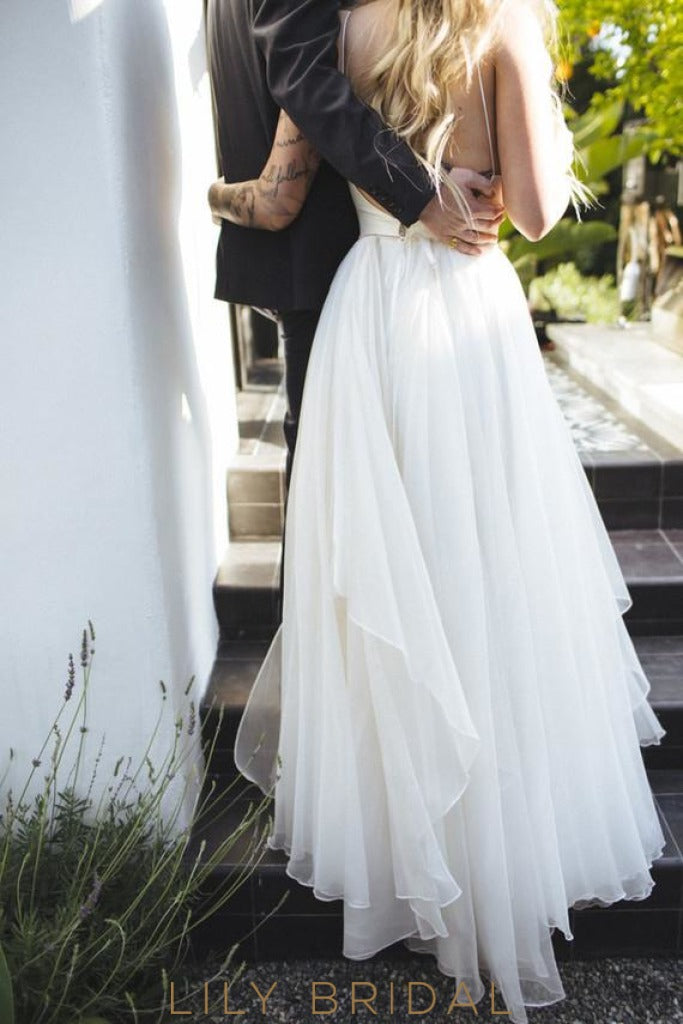 Chiffon A-line Plunging V-Neckline Ivory Wedding Dress with OpeN