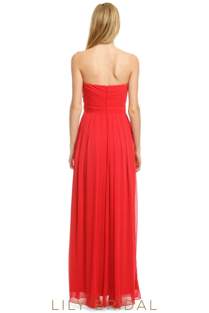 Red Chiffon Sweetheart Strapless Floor Length Bridesmaid Dress