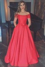 A-Line Red Satin Floor-length Off-the-shoulder Prom Dress with Pockets
