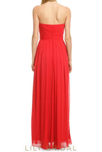 A-Line Red Sweetheart Strapless Floor Length Bridesmaid Dress