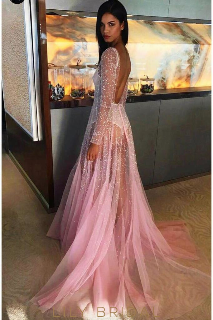A-line Scoop Neckline Tulle Beaded Long Sleeve Blushing Pink Prom Dress