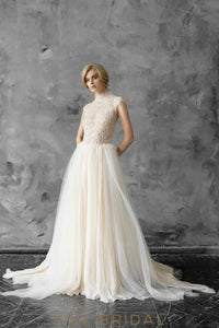A-line Silhouette Cap Sleeves High Neckline Lace and Tulle Wedding Dress