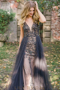 Dark Navy Deep V-Neck Open Back Beaded Tulle Prom Dress With Overskirt