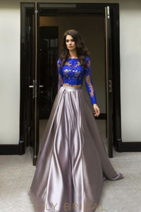 A-line Silver Satin Long Sleeves with Chapel Train Prom Dress