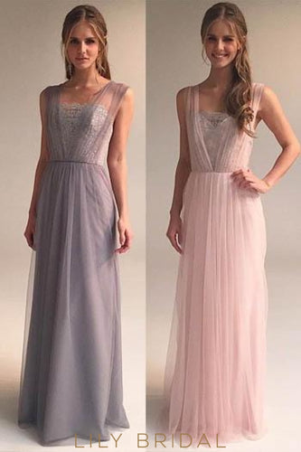 A-Line Sleeveless Floor-Length Chiffon Tulle Evening Dress