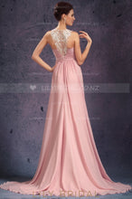 A-Line Sleeveless Jewel Neck Appliqued Chiffon Evening Dress With Sweep Train