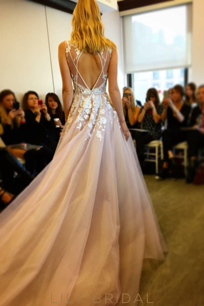 Tulle A-line Sleeveless Wedding Dress with Cutout Back