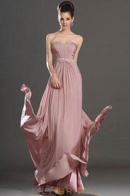 A-Line Sweetheart Strapless Floor-Length Chiffon Formal Evening Dress With Ruched Bodice