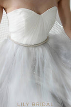 grey Tulle Simple Wedding Dress with Sweetheart Neckline