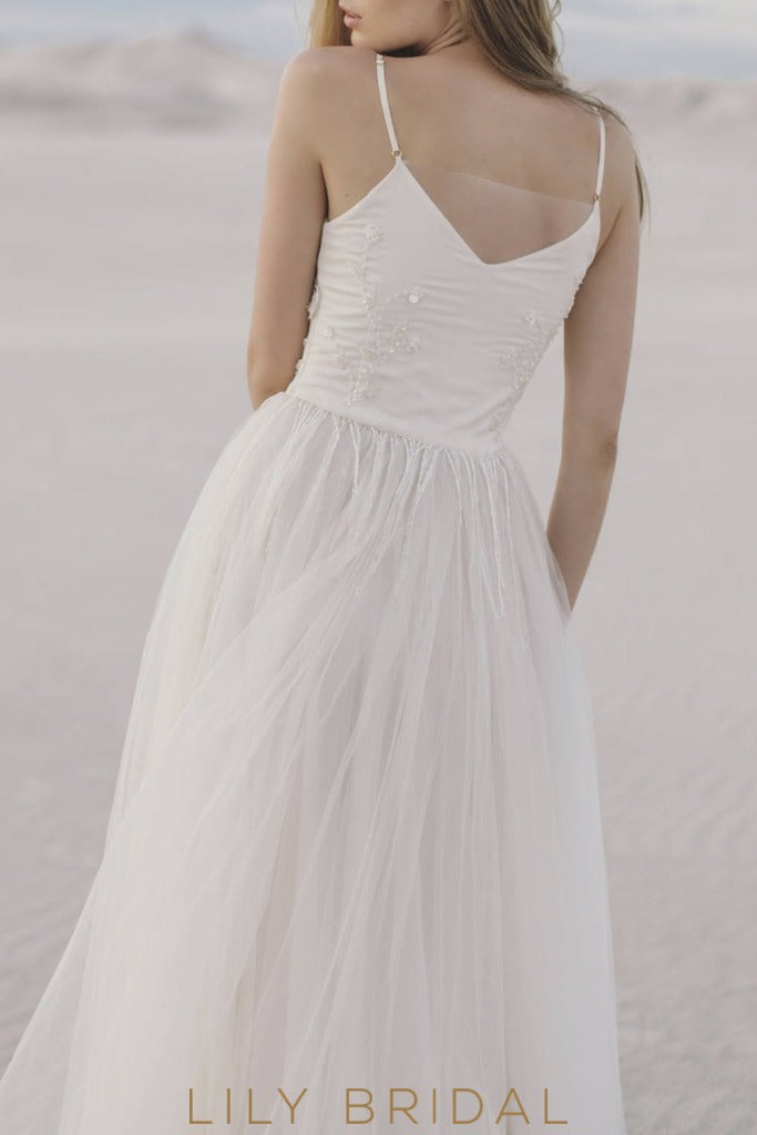 A-Line Beach Wedding Dress with Spaghetti Straps Sweetheart Neckline