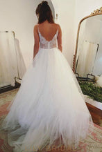 Tulle A-line V-Neck Wedding Dress with Spaghetti Strap Lace Illusion