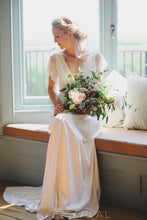 A-line Lace Chiffon V Neckline Wedding Dress