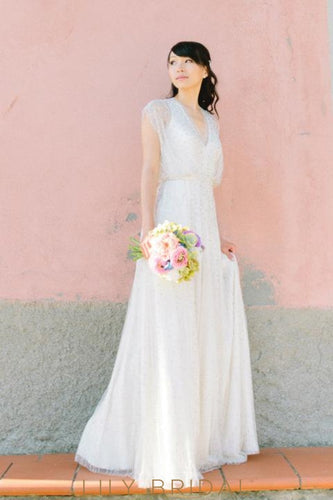 A-line V-neckline Cap Sleeve Tulle Beaded Bohemian Syle Wedding Dress