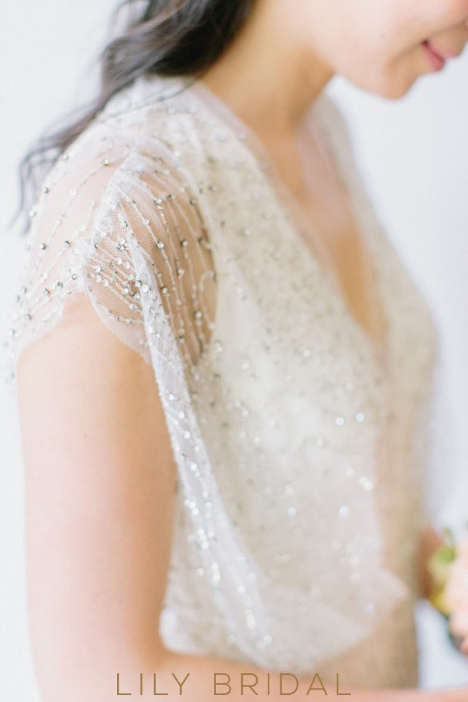 A-line Cap Sleeve Tulle Beaded Bohemian Syle Wedding Dress