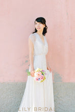 A-line V-neckline Tulle Beaded Bohemian Style Wedding Dress