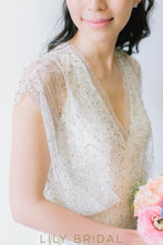 A-line V-neckline Cap Sleeve Bohemian Style Wedding Dress
