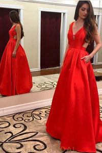 A line V-Neckline Sleeveless Side Cutout Red Satin Prom Dress with Pockets