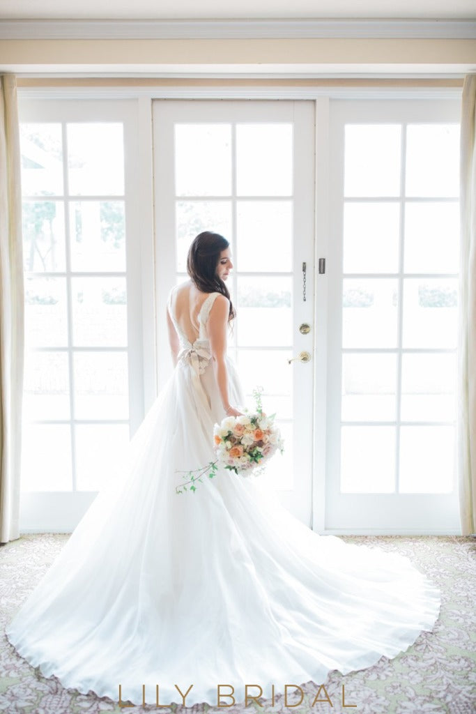 Ivory Chapel Wedding Gown