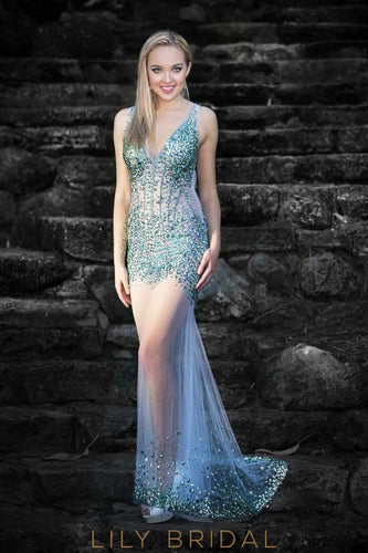 Alluring Tulle V-Neckline Sheer Beaded Sleeveless Mermaid Prom Dress