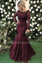 Applique Beaded Illusion Bateau Neck Long Sleeves Floor-Length Mermaid Evening Dress