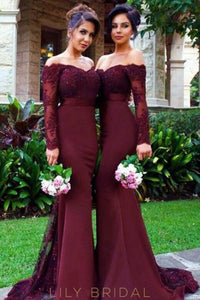 Applique Beaded Illusion Off Shoulder Long Sleeves Long Solid Mermaid Bridesmaid Dress