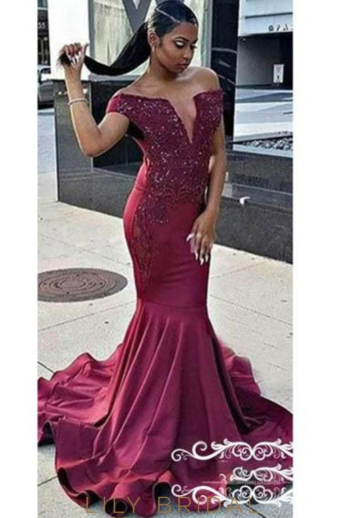 Applique Beaded Off Shoulder Cap Sleeves Long Stretch Mermaid Evening Dress