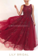 Applique Beaded Illusion Scoop Neck Sleeveless Floor-Length Solid Tulle Evening Dress
