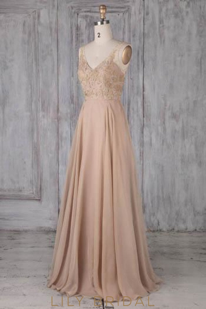 Applique Beaded Sequin Illusion V-Neck Sleeveless Backless Long Sheath Bridesmaid Dress