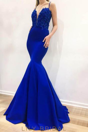Applique Beading Spaghetti Straps Sleeveless Long Solid Mermaid Evening Dress