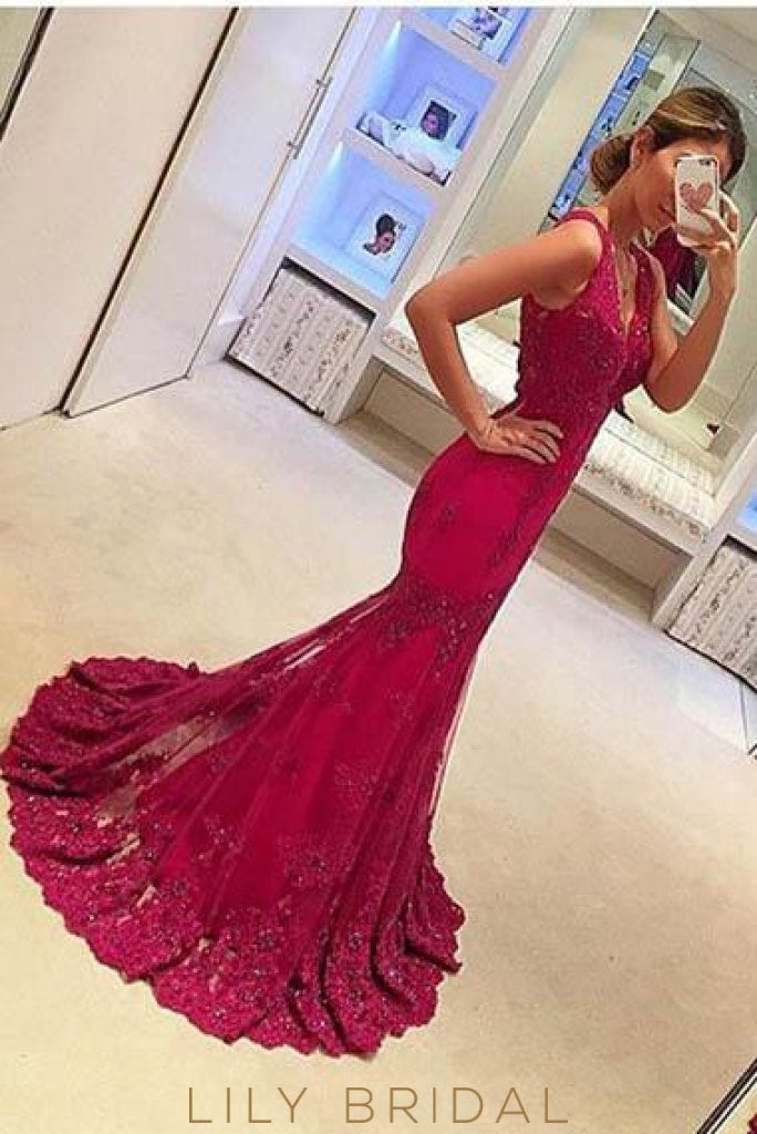 Applique Beaded Straps Sleeveless Long Solid Mermaid Evening Dress With Sweep Train
