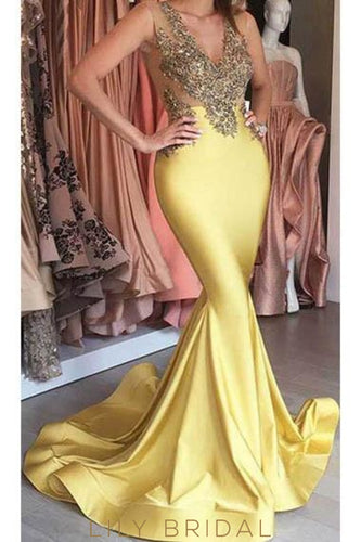 Applique Beaded V-Neck Sleeveless Long Stretch Mermaid Evening Dress