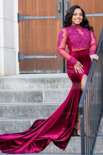 Applique Beading Illusion High Neck Long Sleeves Long Slit Prom Dress with Court Train