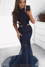 Elegant Applique Beading Illusion High Neck Sleeveless Long Solid Mermaid Prom Dress