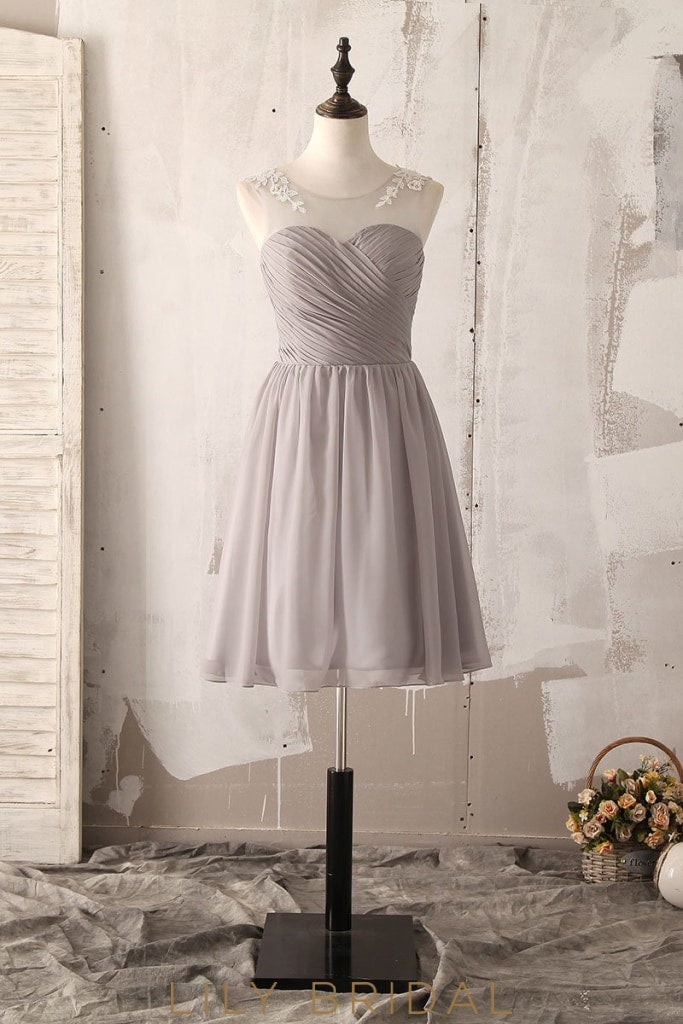 Applique Beading Illusion Scoop Neck Sleeveless Zip-Up Short Solid Ruched Bridesmaid Dress
