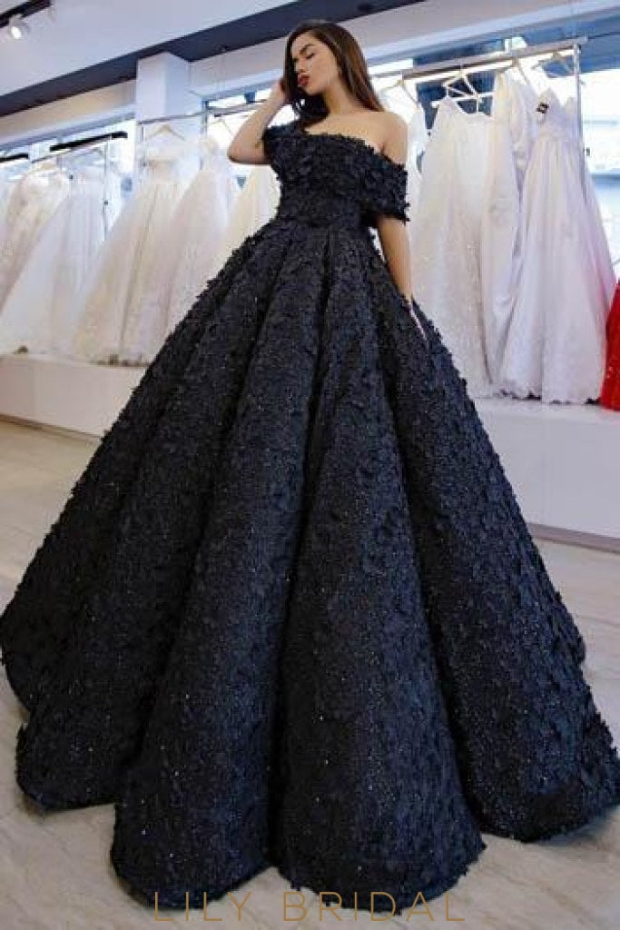 Applique Beading Off Shoulder Short Sleeves Floor-Length Ball Gown Prom Dress