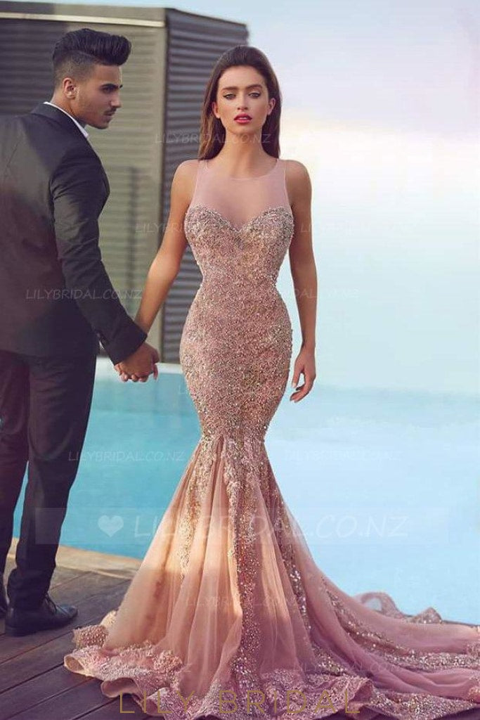 Applique Beading Illusion Sheer Scoop Neck Sleeveless Long Mermaid Evening Dress