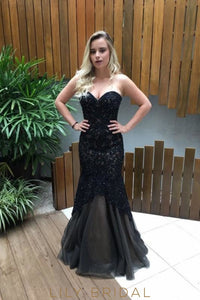 Applique Beading Black Sweetheart Sleeveless Floor-Length Mermaid Prom Dress