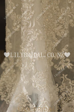 Applique Beading V-Neck Cap Sleeves Backless Long Sheath Wedding Dress with Sweep Train