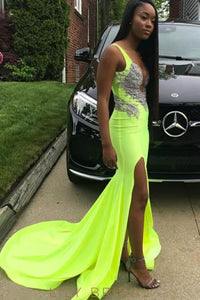 Sexy Applique Deep V-Neck Sleeveless Long Slit Prom Dress with Court Train