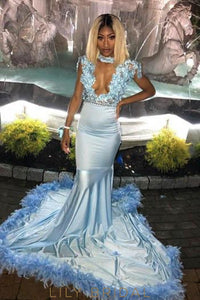 Applique Feathers Fur Illusion High Neck Cap Sleeves Long Solid Mermaid Evening Dress
