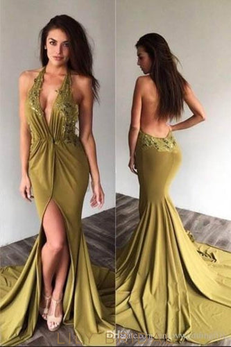 Applique Halter Neck Sleeveless Backless Long Solid Stretch Mermaid Slit Evening Dress