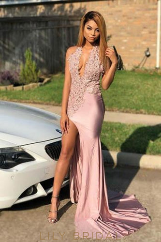 Applique Halter Neck Sleeveless Long Solid Slit Sheath Evening Dress with Sweep Train