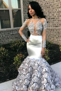 Applique Handmade Flower Illusion Bateau Neck Long Sleeves Long Mermaid Prom Dress