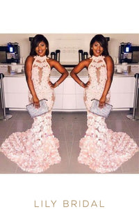 Applique Handmade Flower Illusion High Neck Sleeveless Long Mermaid Prom Dress