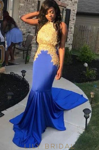 Applique High Neck Sleeveless Open Back Long Mermaid Evening Dress with Court Train