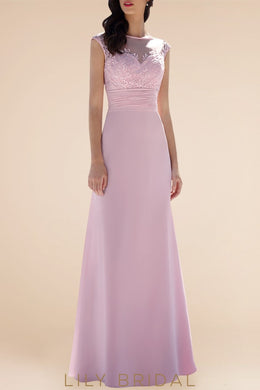 Applique Illusion Bateau Neck Cap Sleeves Floor-Length Solid Bridesmaid Dress
