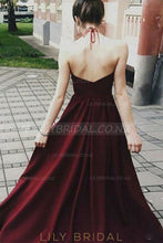 Applique Illusion Halter Neck Sleeveless Backless Floor-Length Solid Evening Dress