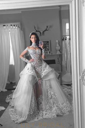Luxury Applique Illusion High Neck Long Sleeves Long Organza Ball Wedding Gown