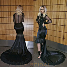 Sexy Applique Illusion High Neck Long Sleeves High-Low Solid Mermaid Prom Dress